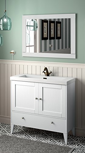 Yellowshop - mobile mobiletto da bagno in legno cm 90 completo di lavabo in mineralmarmo e specchiera arredo classico modello boheme 900 varie colorazioni (bianco vintage)