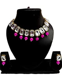 Apsara Art Jewellery Rakhi Special Gold Plated Stylish White Stones And Pink Pearl Necklace Set For Women & Girls