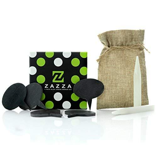 amazon Prime Verkauf Tag Preis Schnitt: zazza Käse Marker Set-5Naturschiefer Etiketten für Käse Boards und 2Speckstein Kreide