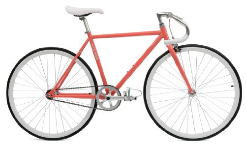 Critical Cycles Classic Fixed-Gear Single-Speed Urban Road with Pista Drop Bars Bike, Coral, 49 cm, small
