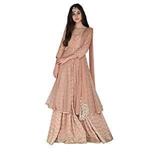 Amaira Salmon Embroidered Kurta And Lehenga Set In Cotton and Organza