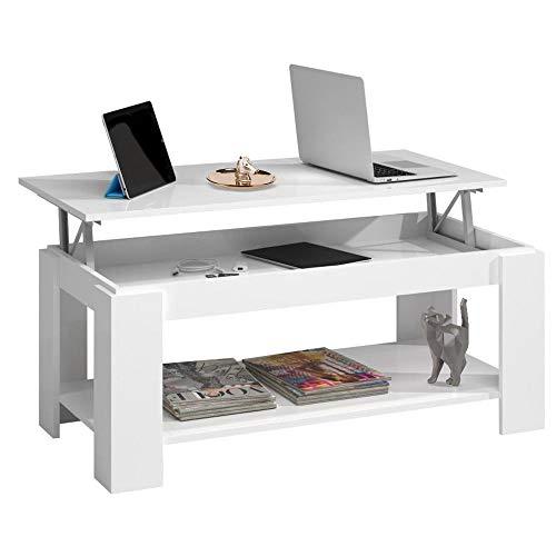 Bakaji tavolino da caffè soggiorno con rialzo e contenitore tavolo divano salotto design moderno apribile in legno melaminico dimensione 100 x 50 x 43 cm (bianco)