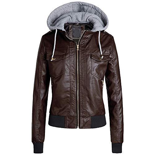 SXZG Winter Damenjacke Lederjacke Damen Plüsch Kapuze abnehmbare Damenbekleidung