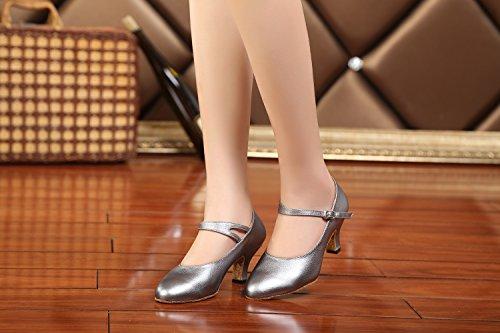 Minitoo GL209da donna tacco basso in pelle Latina professionale scarpe da ballo matrimonio sera pompe Grey