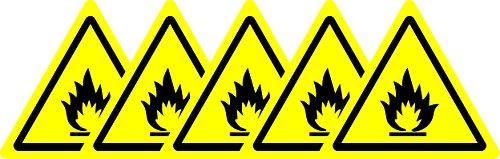 ISO Safety Sign Label-International ACHTUNG Brennbare Materialien Symbol-Sticker Selbstklebend 50mm Durchmesser (5Stück Aufkleber)