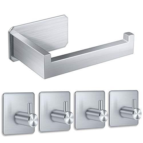 Yosemy 1*porta carta igienica in acciaio inox + 4*gancio adesivo impermeabile a parete rack per cucina bagno gancio acciaio inossidabile autoadesivi senza foratura