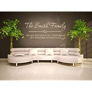 PERSONALISED Family Wall Quote, Wall Art Sticker, Modern Decal, Vinyl Transfer Silver | Large 107cm (w) x 42cm (h)