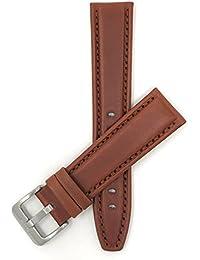 16mm Bracelet de montre en cuir véritable,marron, sportif, avec coutures, aussi disponible en noir