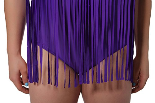 Bettydom Damen Plus Size XL-3XL bunt Badeanzug Colourful Bikini-Sets Quaste Fringe Bademode Lila