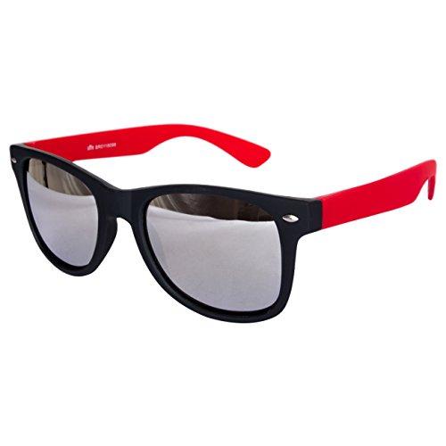 Ciffre Sonnenbrille Nerdbrille Nerd Retro Look Brille Pilotenbrille Vintage Look - ca. 80 verschiedene Modelle Rot Schwarz Spiegelglas
