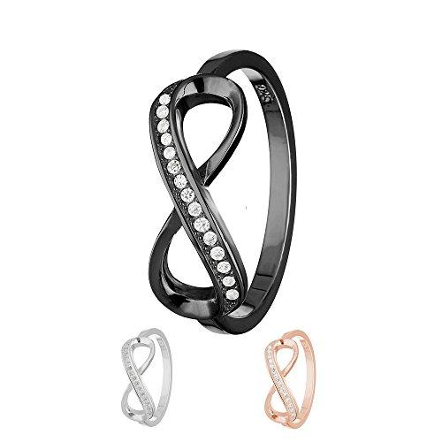 Treuheld Ring - 925 Silber - Unendlichkeit - Kristalle [13.] - schwarz 48