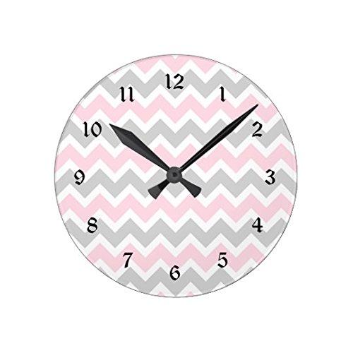 Monsety Lustige Wanduhren für Wohnzimmer rosa und grau Chevron Baby Mädchen Kinderzimmer Kinderzimmer Holz Uhr für Küche Dekor 30 cm