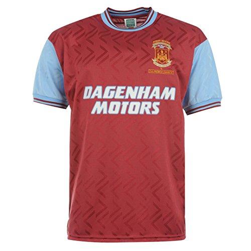 Score Draw Herren West Ham United 94 Retro Fussball Home Trikot Kurzarm Shirt Claret/Blau UK Medium -