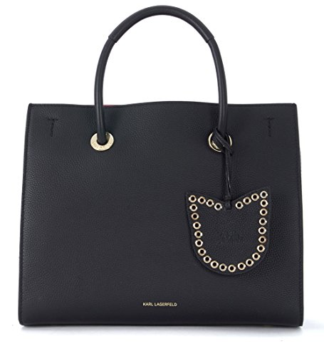 Borsa a mano Karl Lagerfeld Karry All in pelle nera e rossa