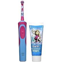 Oral B Frozen - Cepillo electrico, recargable y pasta de dientes Oral B, color azul y rosa