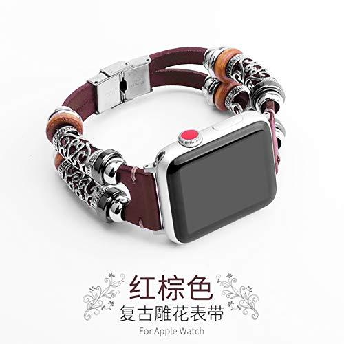 OLDLU Für Apple Watch Serie 1 2 3 38MM 42mm,Hand Stricken Leder Armband ersatz-uhrenarmband-Rot 42mm -