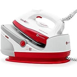 Klarstein Speed Iron • Fer à vapeur • Fer à repasser • Centrale vapeur • 2400 Watts • 1,7 litres de contenance • Vapeur verticale • Pression de 3,5 bar avec volume de vapeur de 90g/min • Blanc-rouge