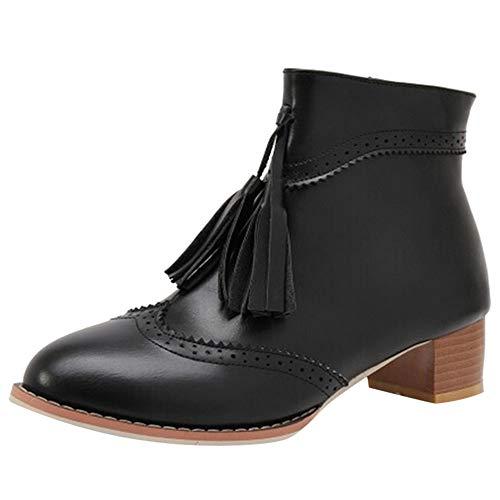 Zapatos Mujer OtoñO Invierno 2018 ZARLLE Botas Borla Mujer,Botas Planas de Moda de de Mujer Botines de Tacón Cuadrado con Cordones Botines High Heels Botas con Plataforma