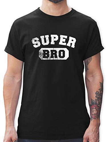 Bruder & Onkel - Super Bro - Vintage-&Collegestil - M - Schwarz - L190 - Herren T-Shirt Rundhals