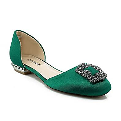 AmagooTer Women's Low Heels Solid Pull On Frosted Square Closed Toe Pumps Shoes, Green, 39