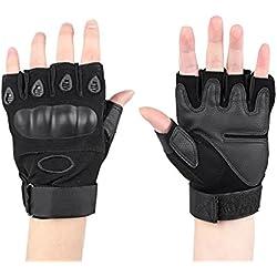 Half dedos Senderismo Guantes Guantes de táctica militar para hombre Deportes Guantes sin dedos Guantes de caza con cierre de velcro Adecuado para moto esquí guantes guantes, guantes de moto, color Negro , tamaño medium