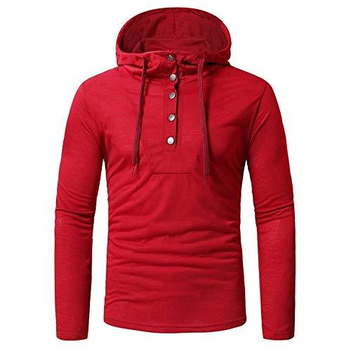 Herren Langarmshirt Modern Tee Mit Sport Tops Einfarbig Sweatshirt Hip Kleidung Hop Hipster Hoodie T Shirt Mit Kapuze (Color : Rot, Size : L)