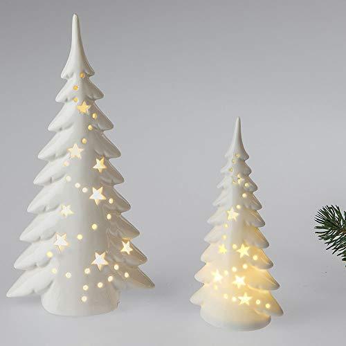 Formano Deko Baum mit LED-Licht 25 cm aus weiß glasiertem Porzellan mit Durchbruch   Weihnachtsbaum zum dekorieren   küsntlicher Christbaum mit stimmungsvollem Licht
