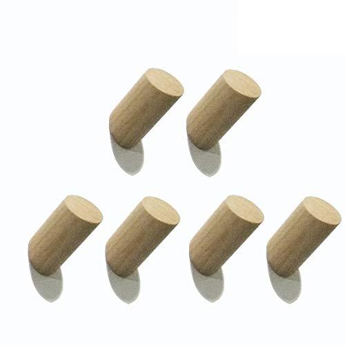 Holz-Haken-natürliche feste Curious Fish hölzerne Zylinder-Spalte-an der Wand befestigte Tuch-Kleidungs-Hut-Schlüssel-Mantel-Beutel-Robe-Schal-Aufhänger-Badezimmer-Schlafzimmer-Küchen-Schrank-Wohnzimmer-Halle minimalistische Dekoration-vielseitiger künstlerischer Organisator (6STÜCK, Natürlich)