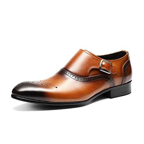 LYMYY Brogue-Schuhe der Männer Junge Mode-Schnalle-Geschäfts-Schuhe Erstklassiges Leder-formales Kleid Sozialschuhe,Brown,43EU (Jungen-brown-leder-kleid-schuhe)