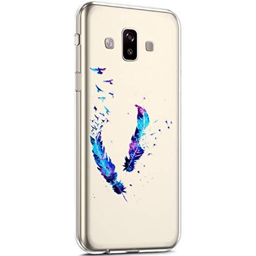 Surakey kompatibel mit Samsung Galaxy J7 Duo 2018 Hülle Silikon TPU Handyhülle Schutzhülle Transparent mit Muster Ultra Dünn TPU Bumper Rückschale Backcover für Galaxy J7 Duo 2018, Blau Feder Vogel -