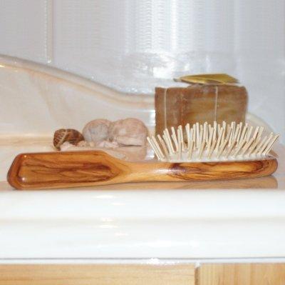 ProPassione Brosse à cheveux pneumatique en bois d'olivier, ovale, grand modèle, picots bois, dimensions: L 21,5 x l 6 cm