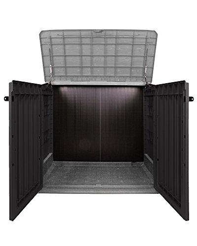 Keter Woodland 30 Mülltonnenbox anthrazit Gartenbox Midi Gerätebox abschließbar für 2 Mülltonnen - 2