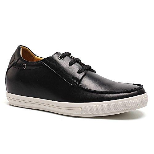 "CHAMARIPA- Ascenseur Hommes Casual Chaussures en cuir pleine fleur noir / brun Taller 7cm/2,76""-DG9108 Noir"