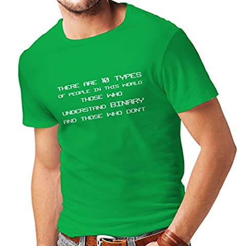 N4242 T-shirt pour hommes Binary Code (Large Green