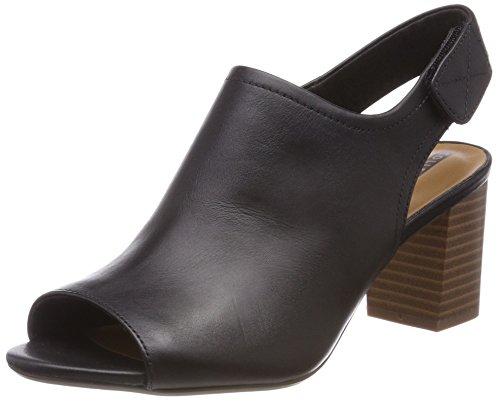 Clarks Damen Deva Jayleen Slingback Sandalen, Schwarz (Black Leather), 37 EU