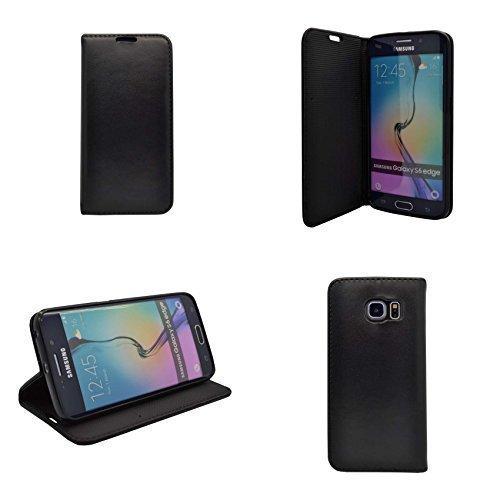 Samsung Magnet (Samsung Galaxy S6Edge Plus schwarz uni PU Leder Magnet Flip Case Schutzhülle von Gadget Boxx)