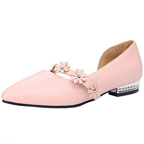 TAOFFEN Damen Elegant Schlupfschuhe Pointed Toe Pumps Mit Blume Pink