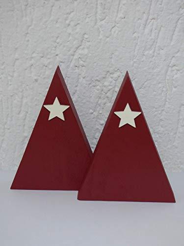 2 x Weihnachtsbaum Design Altholz geometrisch nachhaltig Upcycling Holzweihnachtsbaum Tannenbaum Weihnachten Christbaum Advent Weihnachtsdeko Palettenholz rot Stern