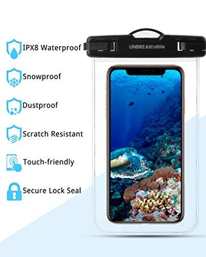 UNBREAKcable [2 Pack] Pochette Étanche Smartphone - Sac étanche IPX8 pour Téléphones iPhone XS Max/XR/XS/X/8/8 Plus/7, Samsung Galaxy S10 Plus/S10, Huawei P30 Pro/P30, Google Pixel 2 Jusqu'à 6.6''