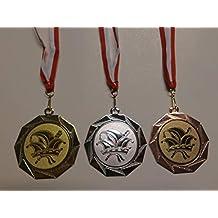 Orden Medaillen Set Medaillen-Band Bronze Karneval Gold,Silber,Bronce, Narrenkappe - mit Alu Emblem 50mm Silber Kappe e103 Gro/ße Stahl 70mm wei/ß//rot Fasching Gold