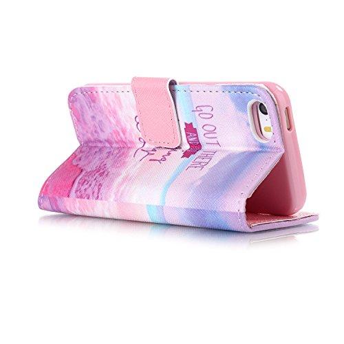 Coque pour Apple iphone SE 5 5S,Housse en cuir pour Apple iphone SE 5 5S,Ecoway Colorful imprimé étui en cuir PU Cuir Flip Magnétique Portefeuille Etui Housse de Protection Coque Étui Case Cover avec  B-5