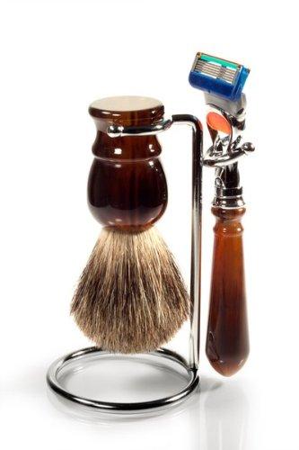 Rasierset Schildpatt Gillette FUSION - 3-teiliges Rasierset Mit Rasierer für Gillette Fusion Klingen + Dachshaar-Rasierpinsel plus schmalem Halter