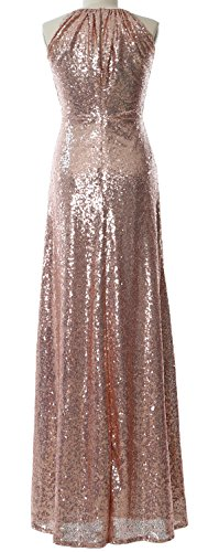 MACloth Women Halter Sequin Long Bridesmaid Dress Wedding Party Formal Gown Dark Green