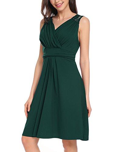 VESSOS Damen Kleider V-Ausschnitt Tailliertes Kleid mit Spitzen Dunkelgrün