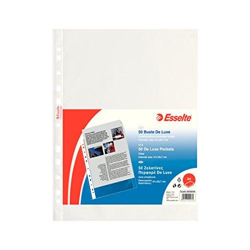 Esselte Buste a Perforazione Copy Safe De Luxe, Trasparente, Formato A4, Porta Documenti, In PP Lucido, Confezione da 50 Buste, 395009300
