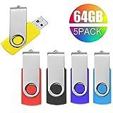 Pendrive 64 GB,Chiavetta USB 64 GB 5 Pezzi Pennetta Memoria Flash Drive JUYUKEJI USB 2.0 Grande capacità Girevole Unità Flash (5 Multicolore)