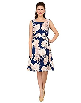 Vastrasutra Women's Blue Floral Print Sleeveless Crepe Bollywood Dress (X-Small)