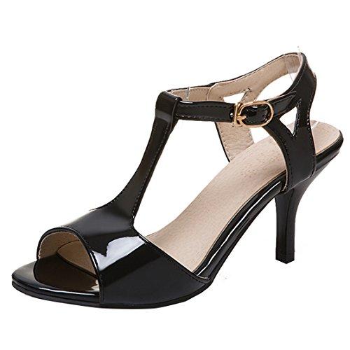 AIYOUMEI Damen Lackleder Peep Toe T-spangen Knöchelriemchen Sandalen mit 8cm Absatz Stiletto Pumps Sommer Schuhe
