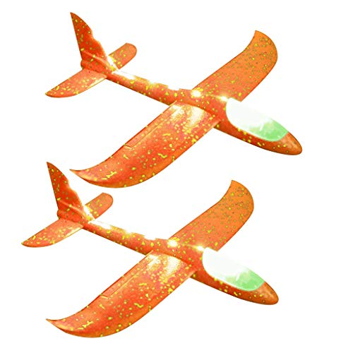 Fcostume 2 Pcs Foam Throwing Glider Inertia LED Airplane Spielzeug Hand Launching Flugzeug (Orange)