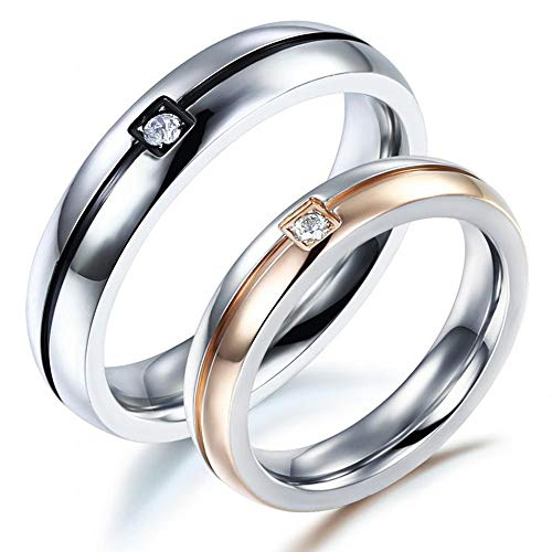 ASH Herren Und Damen Ehering, Titan Ringe Paar Verlobung Hochzeit Bands Intarsien Zirkonia Für Anniversary/Paar Ring-Größe 5-11,WomenSize7